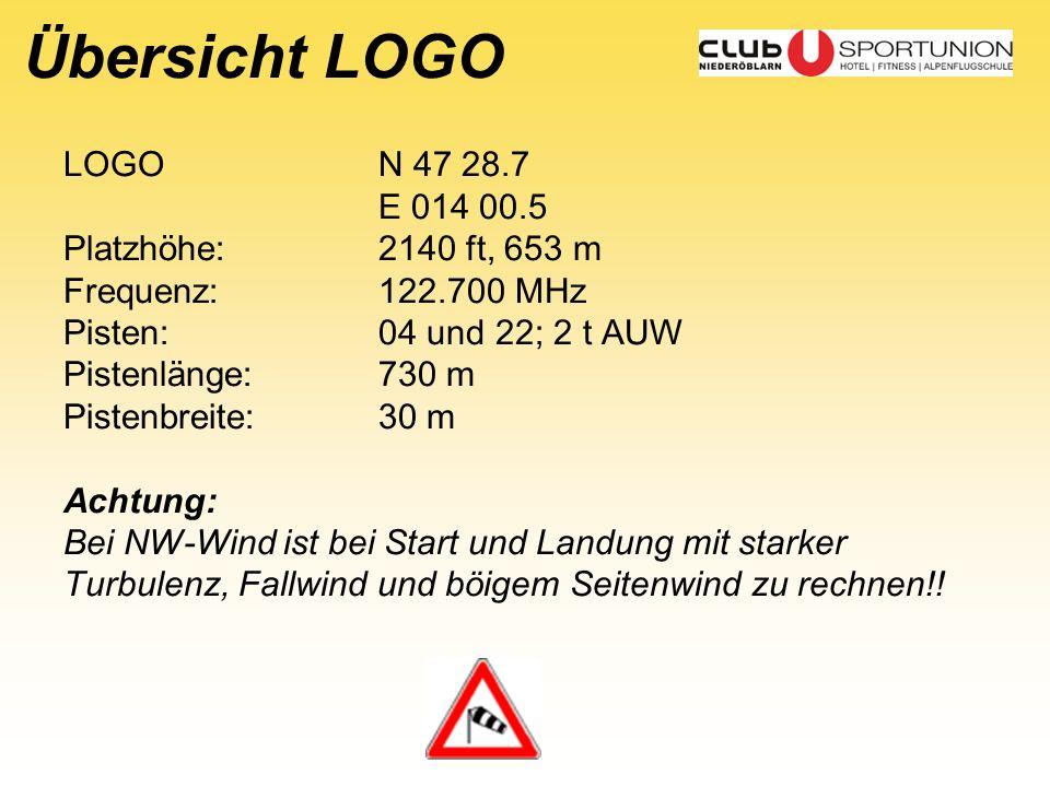 Übersicht LOGO LOGON 47 28.7 E 014 00.5 Platzhöhe:2140 ft, 653 m Frequenz:122.700 MHz Pisten:04 und 22; 2 t AUW Pistenlänge:730 m Pistenbreite:30 m Ac