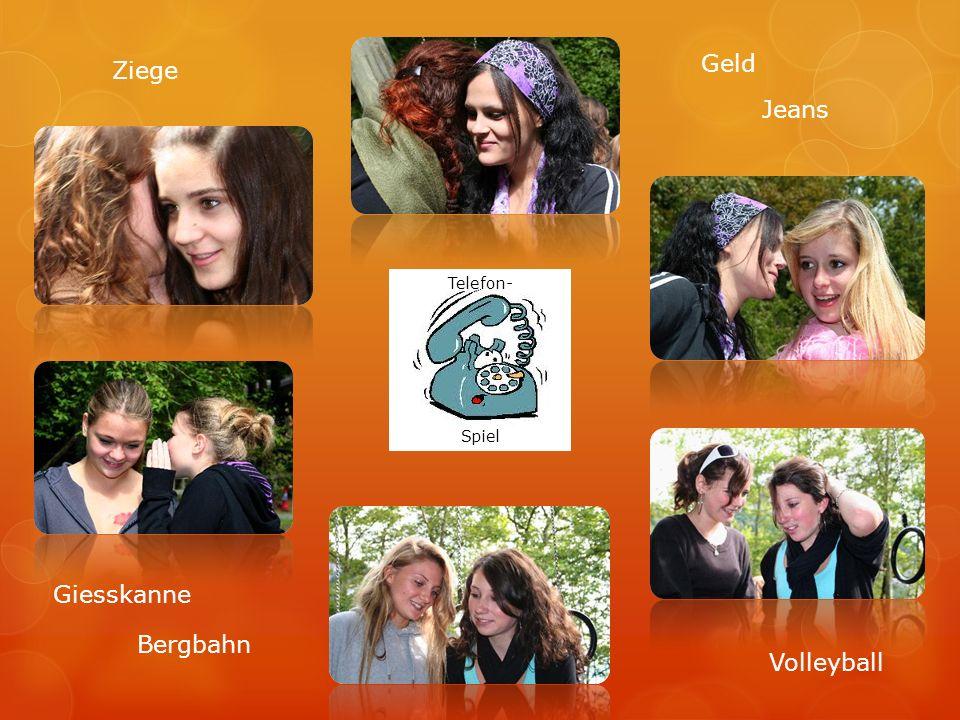 Telefon- Spiel Ziege Volleyball Bergbahn Geld Jeans Giesskanne