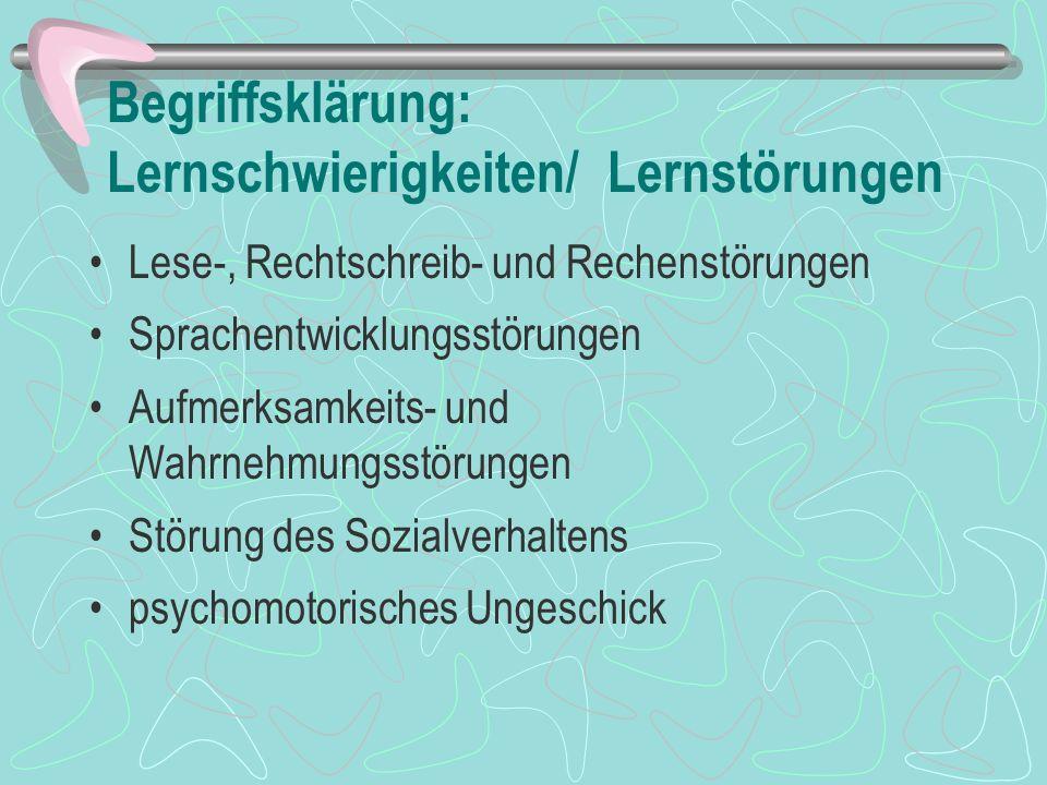 Begriffsklärung: Lernschwierigkeiten/ Lernstörungen Lese-, Rechtschreib- und Rechenstörungen Sprachentwicklungsstörungen Aufmerksamkeits- und Wahrnehm