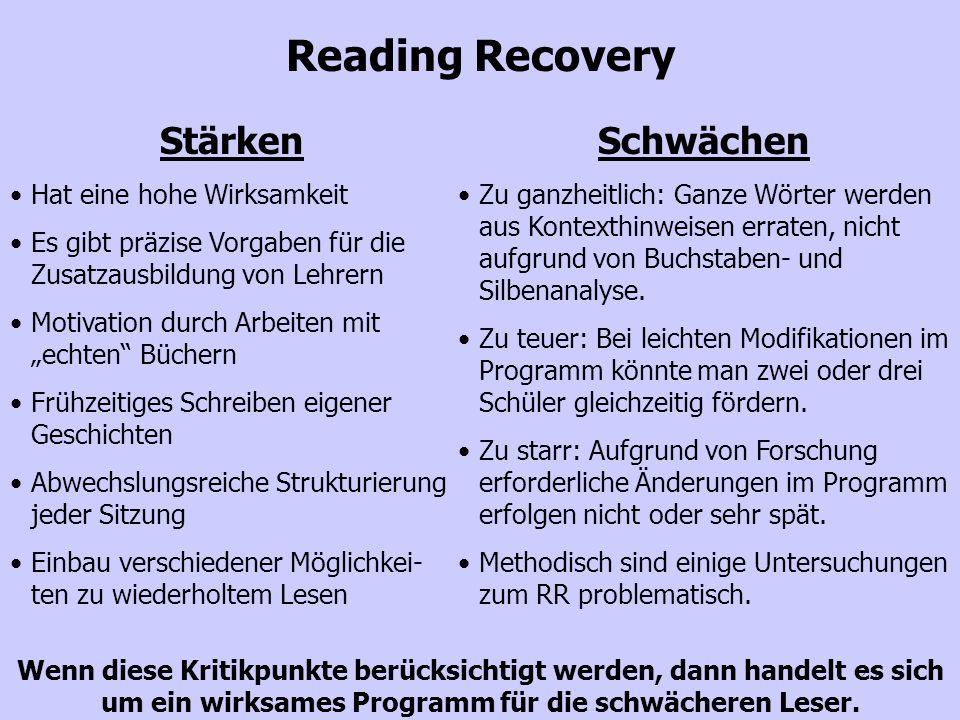 25 Reading Recovery Stärken Hat eine hohe Wirksamkeit Es gibt präzise Vorgaben für die Zusatzausbildung von Lehrern Motivation durch Arbeiten mit echt