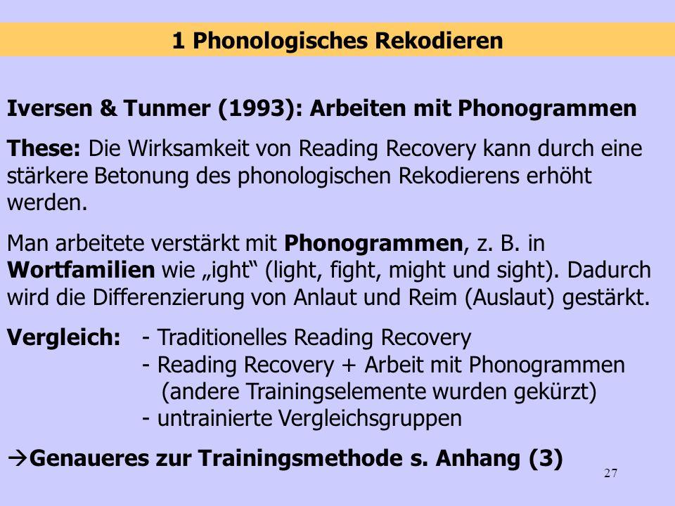 27 Iversen & Tunmer (1993): Arbeiten mit Phonogrammen These: Die Wirksamkeit von Reading Recovery kann durch eine stärkere Betonung des phonologischen