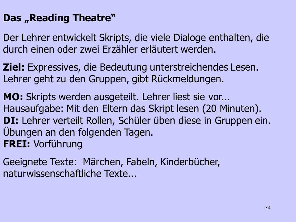 34 Das Reading Theatre Der Lehrer entwickelt Skripts, die viele Dialoge enthalten, die durch einen oder zwei Erzähler erläutert werden. Ziel: Expressi