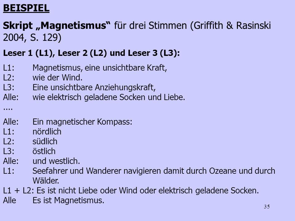 35 BEISPIEL Skript Magnetismus für drei Stimmen (Griffith & Rasinski 2004, S. 129) Leser 1 (L1), Leser 2 (L2) und Leser 3 (L3): L1:Magnetismus, eine u