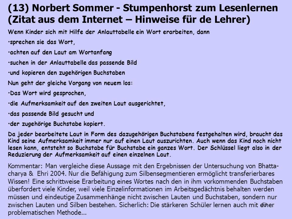 53 (13) Norbert Sommer - Stumpenhorst zum Lesenlernen (Zitat aus dem Internet – Hinweise für de Lehrer) Wenn Kinder sich mit Hilfe der Anlauttabelle e