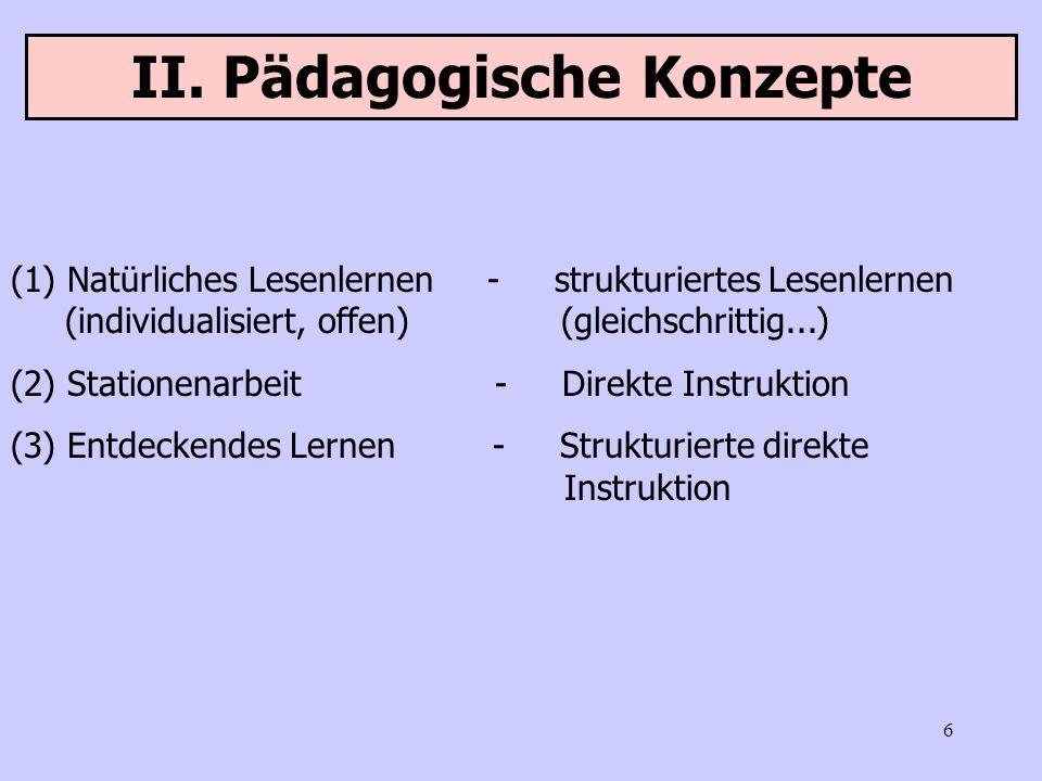 6 II. Pädagogische Konzepte (1) Natürliches Lesenlernen - strukturiertes Lesenlernen (individualisiert, offen) (gleichschrittig...) (2) Stationenarbei