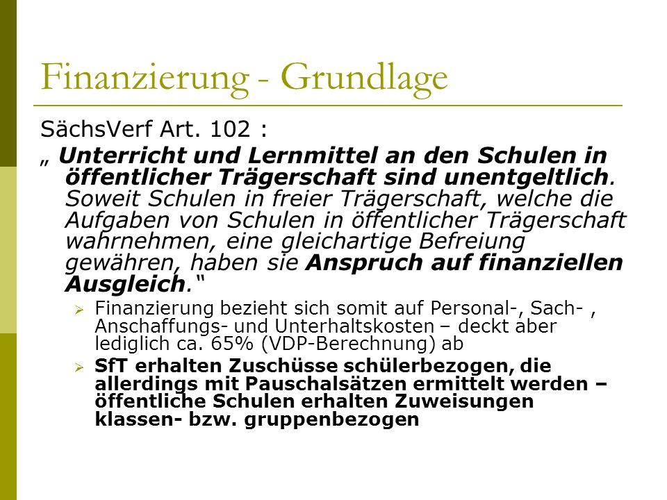 Finanzierung - Grundlage SächsVerf Art.