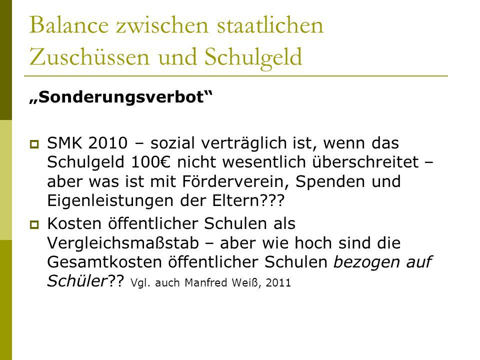 Balance zwischen staatlichen Zuschüssen und Schulgeld Sonderungsverbot SMK 2010 – sozial verträglich ist, wenn das Schulgeld 100 nicht wesentlich überschreitet – aber was ist mit Förderverein, Spenden und Eigenleistungen der Eltern??.