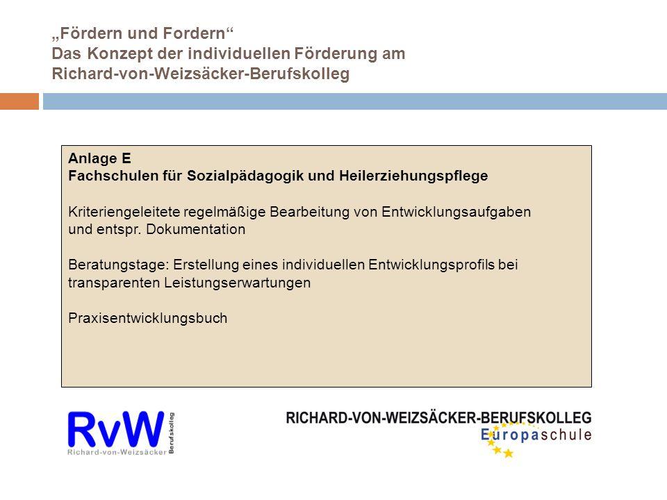 Fördern und Fordern Das Konzept der individuellen Förderung am Richard-von-Weizsäcker-Berufskolleg Anlage E Fachschulen für Sozialpädagogik und Heilerziehungspflege Kriteriengeleitete regelmäßige Bearbeitung von Entwicklungsaufgaben und entspr.