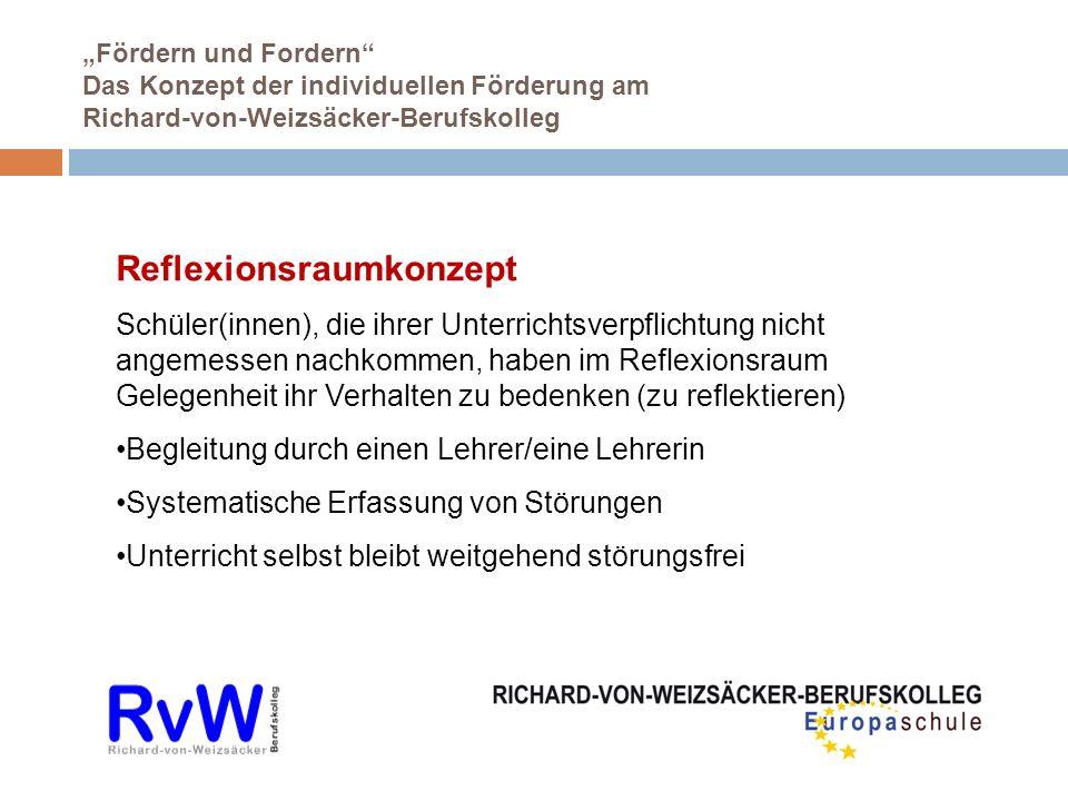Fördern und Fordern Das Konzept der individuellen Förderung am Richard-von-Weizsäcker-Berufskolleg Reflexionsraumkonzept Schüler(innen), die ihrer Unt