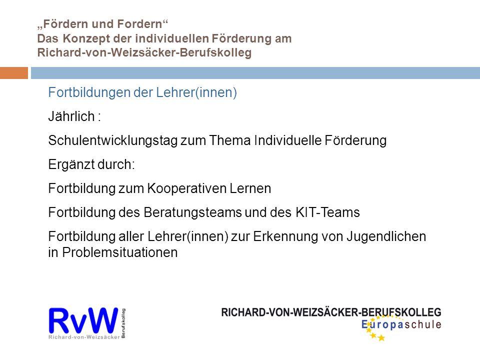 Fördern und Fordern Das Konzept der individuellen Förderung am Richard-von-Weizsäcker-Berufskolleg Fortbildungen der Lehrer(innen) Jährlich : Schulent