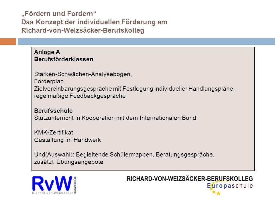 Fördern und Fordern Das Konzept der individuellen Förderung am Richard-von-Weizsäcker-Berufskolleg Anlage A Berufsförderklassen Stärken-Schwächen-Anal