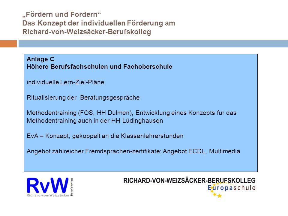 Fördern und Fordern Das Konzept der individuellen Förderung am Richard-von-Weizsäcker-Berufskolleg Anlage C Höhere Berufsfachschulen und Fachoberschul