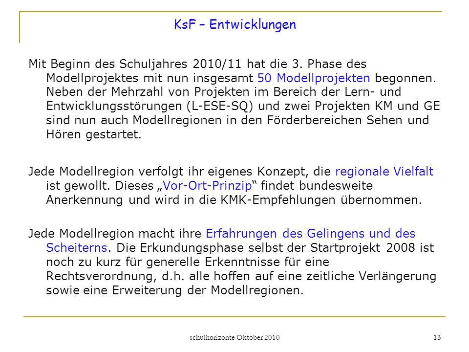 schulhorizonte Oktober 2010 14 Die langfristigen Projektziele: Die Schülerzahlen in den Förderschulen für Lern- und Entwicklungsstörungen (L – ESE – SQ) sinken.