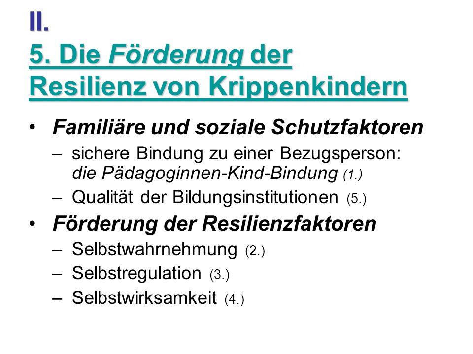 II. 5. Die Förderung der Resilienz von Krippenkindern Familiäre und soziale Schutzfaktoren –sichere Bindung zu einer Bezugsperson: die Pädagoginnen-Ki