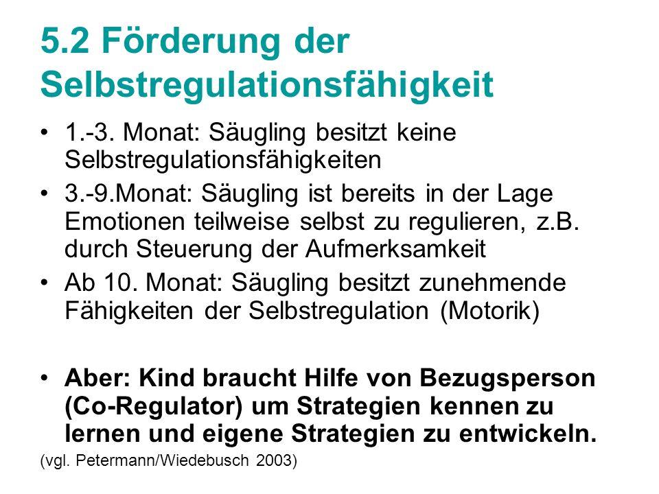 5.2 Förderung der Selbstregulationsfähigkeit 1.-3. Monat: Säugling besitzt keine Selbstregulationsfähigkeiten 3.-9.Monat: Säugling ist bereits in der