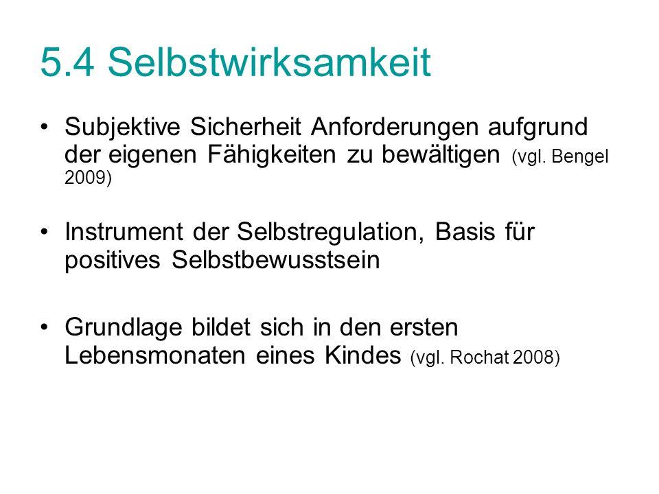 5.4 Selbstwirksamkeit Subjektive Sicherheit Anforderungen aufgrund der eigenen Fähigkeiten zu bewältigen (vgl. Bengel 2009) Instrument der Selbstregul