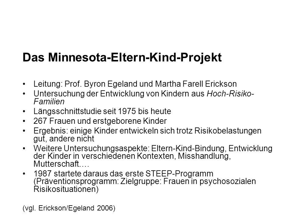 Das Minnesota-Eltern-Kind-Projekt Leitung: Prof. Byron Egeland und Martha Farell Erickson Untersuchung der Entwicklung von Kindern aus Hoch-Risiko- Fa