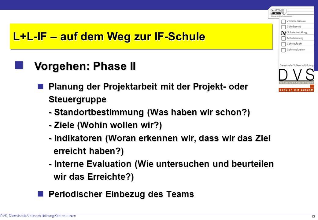 DVS, Dienststelle Volksschulbildung Kanton Luzern 13 Vorgehen: Phase II Vorgehen: Phase II L+L-IF – auf dem Weg zur IF-Schule Planung der Projektarbeit mit der Projekt- oder Steuergruppe - Standortbestimmung (Was haben wir schon?) - Ziele (Wohin wollen wir?) - Indikatoren (Woran erkennen wir, dass wir das Ziel erreicht haben?) - Interne Evaluation (Wie untersuchen und beurteilen wir das Erreichte?) Planung der Projektarbeit mit der Projekt- oder Steuergruppe - Standortbestimmung (Was haben wir schon?) - Ziele (Wohin wollen wir?) - Indikatoren (Woran erkennen wir, dass wir das Ziel erreicht haben?) - Interne Evaluation (Wie untersuchen und beurteilen wir das Erreichte?) Periodischer Einbezug des Teams Periodischer Einbezug des Teams
