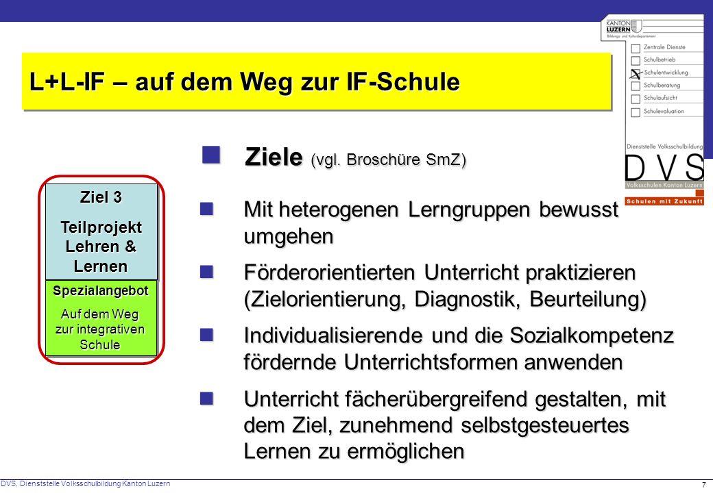 DVS, Dienststelle Volksschulbildung Kanton Luzern 7 Ziele (vgl.