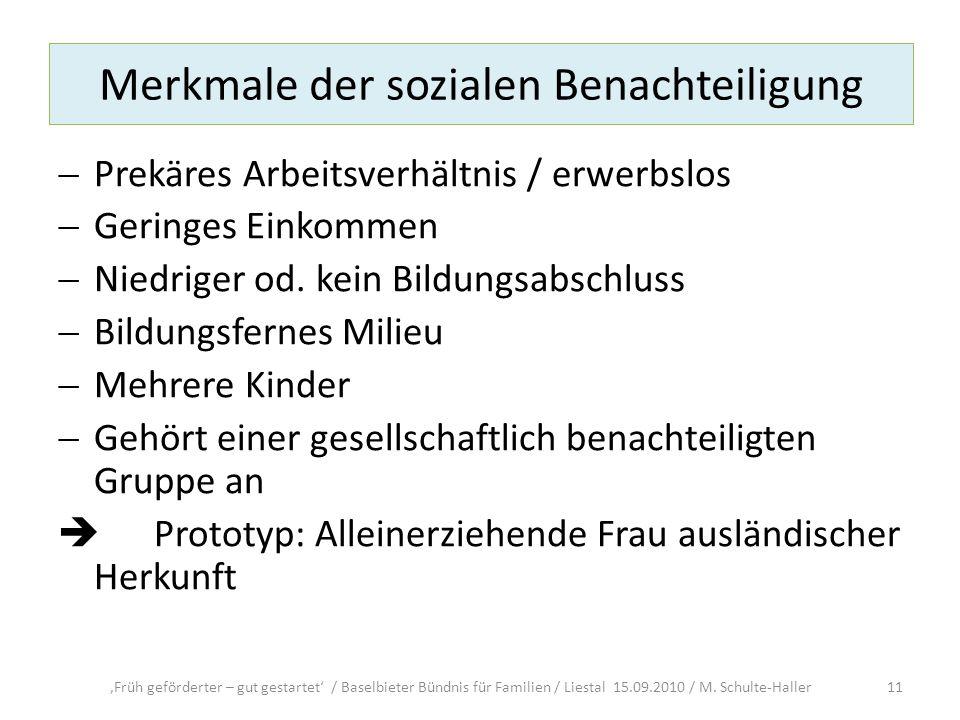 Merkmale der sozialen Benachteiligung Prekäres Arbeitsverhältnis / erwerbslos Geringes Einkommen Niedriger od. kein Bildungsabschluss Bildungsfernes M