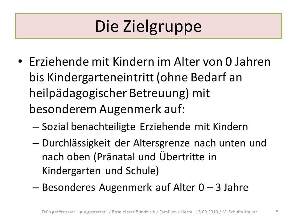 Die Zielgruppe Erziehende mit Kindern im Alter von 0 Jahren bis Kindergarteneintritt (ohne Bedarf an heilpädagogischer Betreuung) mit besonderem Augen