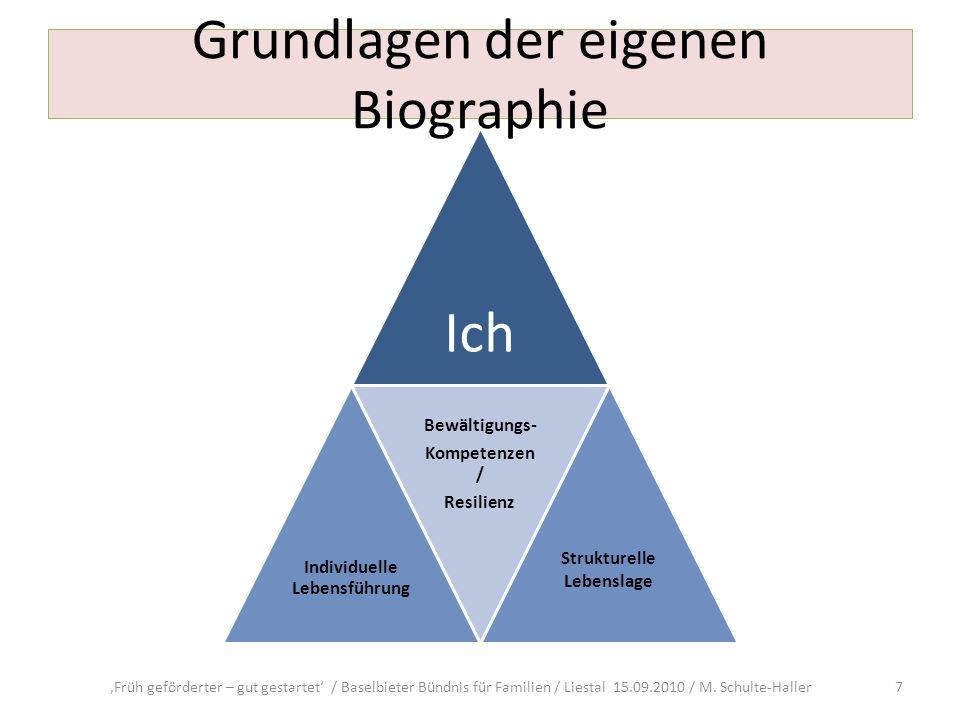 Grundlagen der eigenen Biographie Früh geförderter – gut gestartet / Baselbieter Bündnis für Familien / Liestal 15.09.2010 / M. Schulte-Haller 7