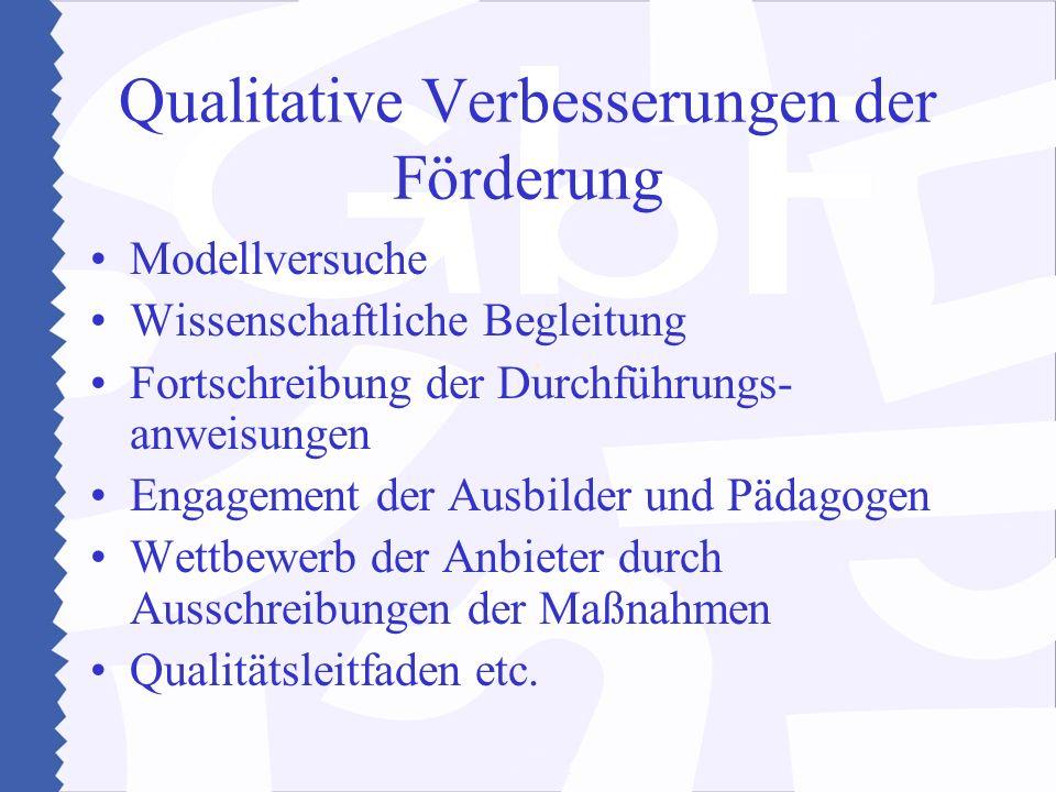 Qualitative Verbesserungen der Förderung Modellversuche Wissenschaftliche Begleitung Fortschreibung der Durchführungs- anweisungen Engagement der Ausbilder und Pädagogen Wettbewerb der Anbieter durch Ausschreibungen der Maßnahmen Qualitätsleitfaden etc.
