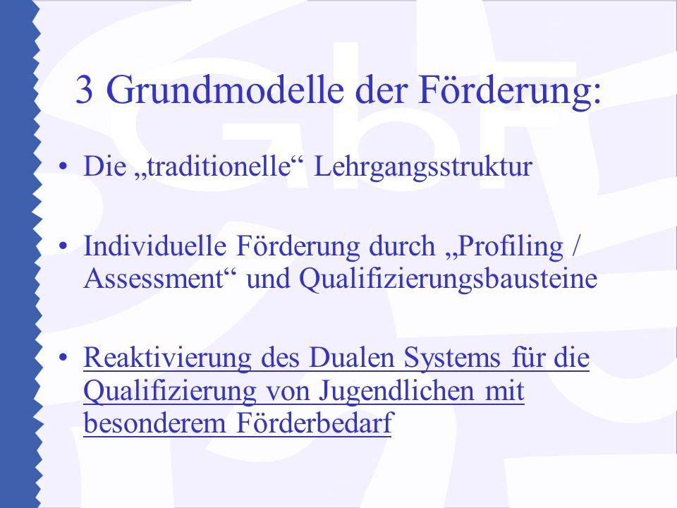 3 Grundmodelle der Förderung: Die traditionelle Lehrgangsstruktur Individuelle Förderung durch Profiling / Assessment und Qualifizierungsbausteine Reaktivierung des Dualen Systems für die Qualifizierung von Jugendlichen mit besonderem Förderbedarf