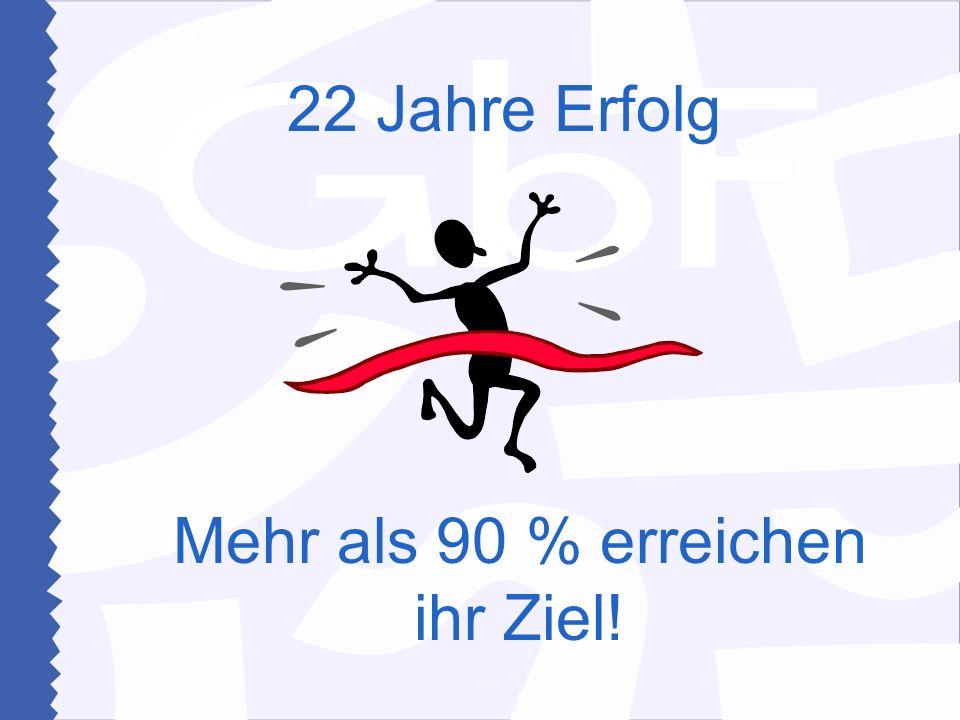 Mehr als 90 % erreichen ihr Ziel! 22 Jahre Erfolg