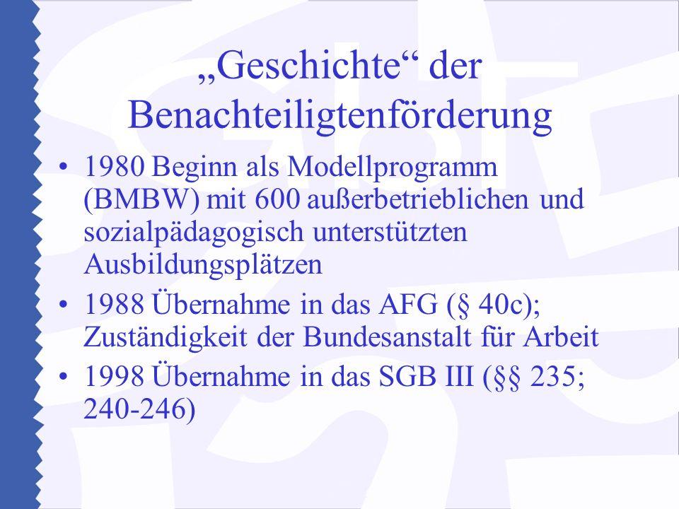 Geschichte der Benachteiligtenförderung 1980 Beginn als Modellprogramm (BMBW) mit 600 außerbetrieblichen und sozialpädagogisch unterstützten Ausbildungsplätzen 1988 Übernahme in das AFG (§ 40c); Zuständigkeit der Bundesanstalt für Arbeit 1998 Übernahme in das SGB III (§§ 235; 240-246)