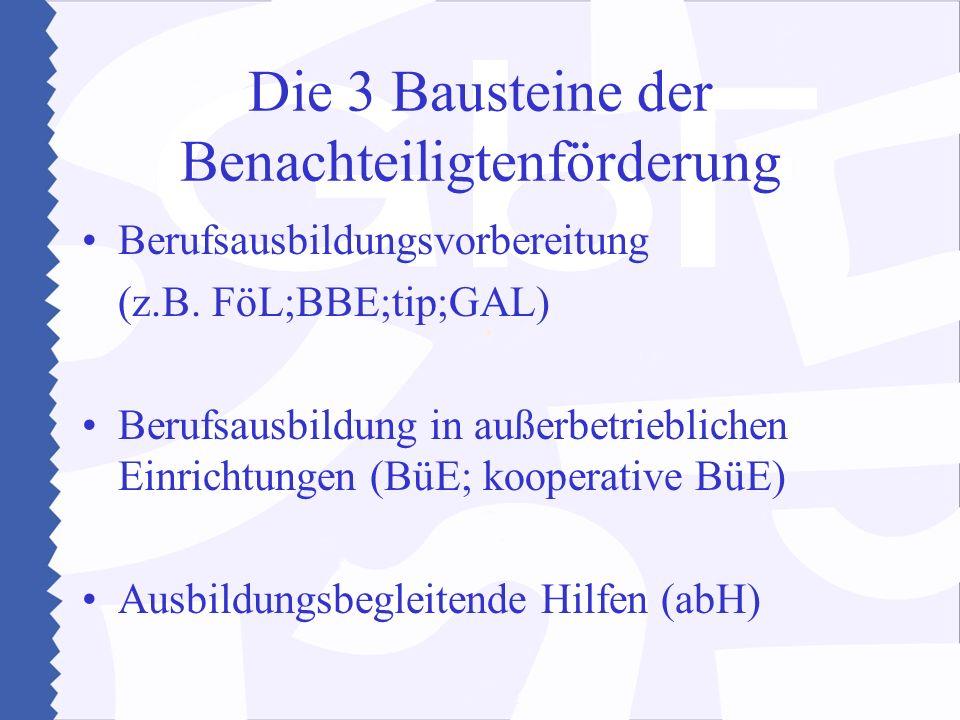 Die 3 Bausteine der Benachteiligtenförderung Berufsausbildungsvorbereitung (z.B. FöL;BBE;tip;GAL) Berufsausbildung in außerbetrieblichen Einrichtungen