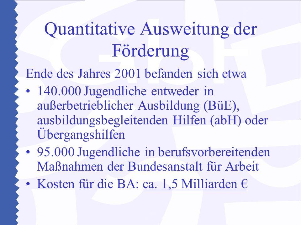 Quantitative Ausweitung der Förderung Ende des Jahres 2001 befanden sich etwa 140.000 Jugendliche entweder in außerbetrieblicher Ausbildung (BüE), aus
