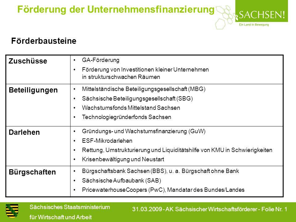 Sächsisches Staatsministerium für Wirtschaft und Arbeit 31.03.2009 - AK Sächsischer Wirtschaftsförderer - Folie Nr. 1 Förderung der Unternehmensfinanz