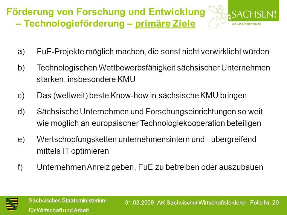 Sächsisches Staatsministerium für Wirtschaft und Arbeit 31.03.2009 - AK Sächsischer Wirtschaftsförderer - Folie Nr. 20 Förderung von Forschung und Ent