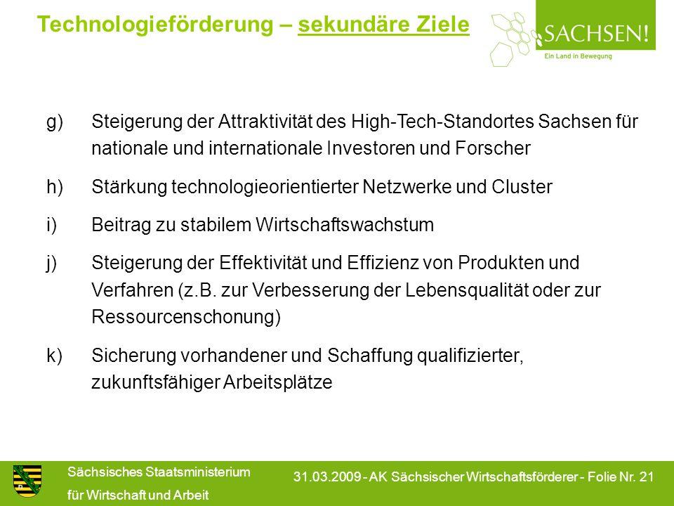 Sächsisches Staatsministerium für Wirtschaft und Arbeit 31.03.2009 - AK Sächsischer Wirtschaftsförderer - Folie Nr. 21 Technologieförderung – sekundär