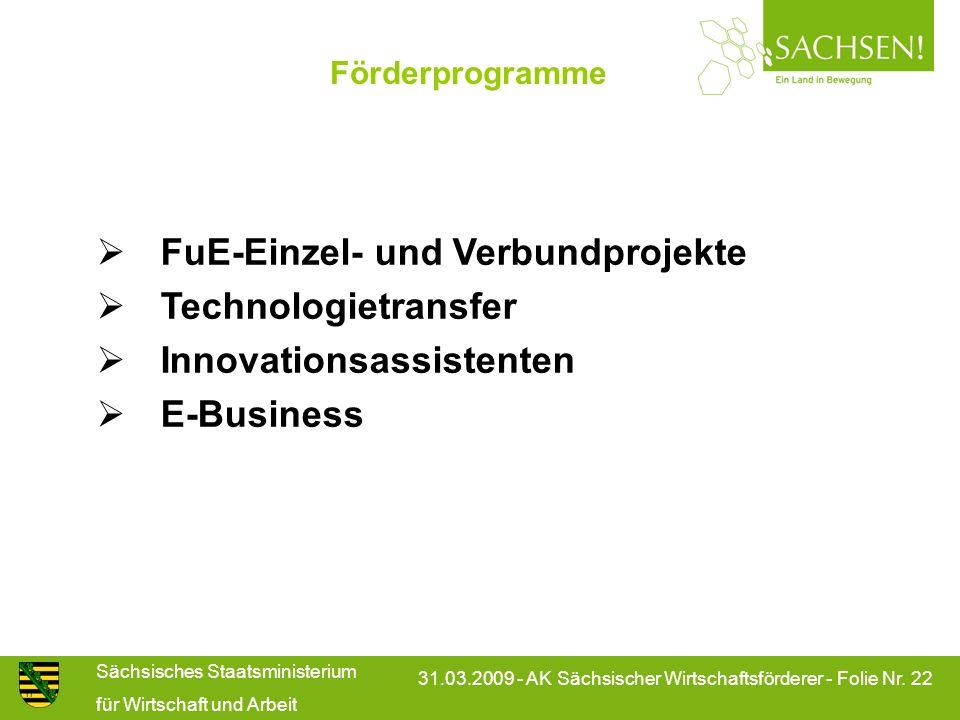 Sächsisches Staatsministerium für Wirtschaft und Arbeit 31.03.2009 - AK Sächsischer Wirtschaftsförderer - Folie Nr. 22 Förderprogramme n FuE-Einzel- u