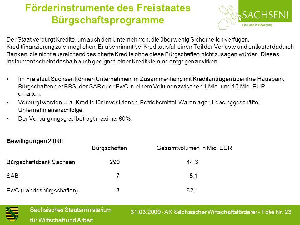 Sächsisches Staatsministerium für Wirtschaft und Arbeit 31.03.2009 - AK Sächsischer Wirtschaftsförderer - Folie Nr. 23 Förderinstrumente des Freistaat
