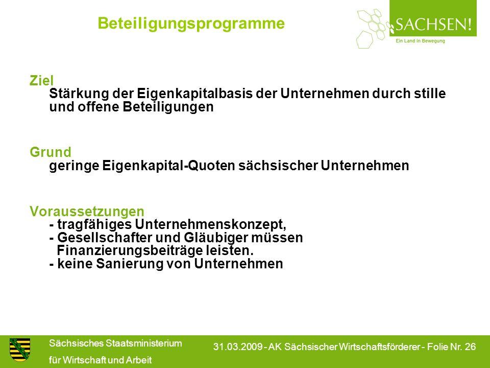 Sächsisches Staatsministerium für Wirtschaft und Arbeit 31.03.2009 - AK Sächsischer Wirtschaftsförderer - Folie Nr. 26 Ziel Stärkung der Eigenkapitalb