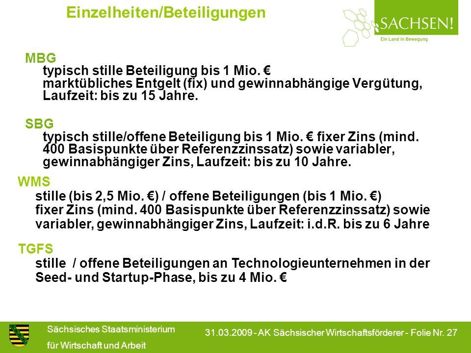 Sächsisches Staatsministerium für Wirtschaft und Arbeit 31.03.2009 - AK Sächsischer Wirtschaftsförderer - Folie Nr. 27 Einzelheiten/Beteiligungen MBG