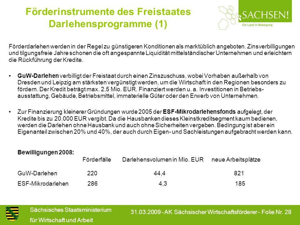 Sächsisches Staatsministerium für Wirtschaft und Arbeit 31.03.2009 - AK Sächsischer Wirtschaftsförderer - Folie Nr. 28 Förderinstrumente des Freistaat