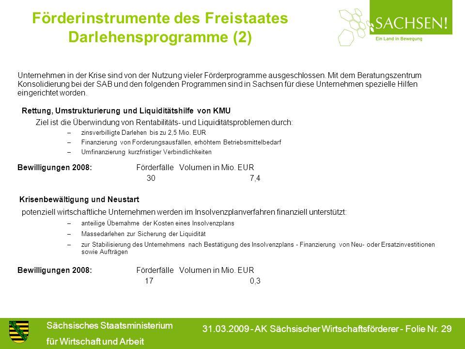 Sächsisches Staatsministerium für Wirtschaft und Arbeit 31.03.2009 - AK Sächsischer Wirtschaftsförderer - Folie Nr. 29 Förderinstrumente des Freistaat