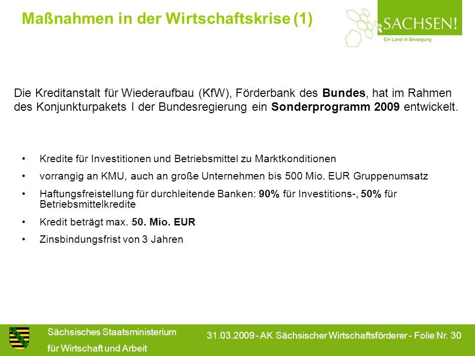Sächsisches Staatsministerium für Wirtschaft und Arbeit 31.03.2009 - AK Sächsischer Wirtschaftsförderer - Folie Nr. 30 Maßnahmen in der Wirtschaftskri