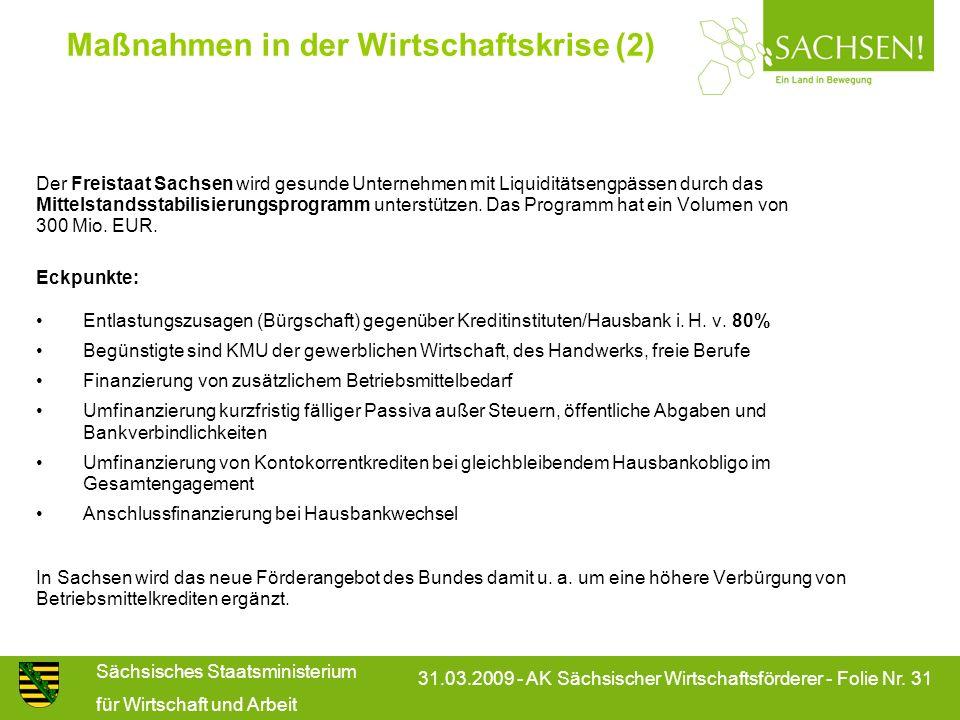 Sächsisches Staatsministerium für Wirtschaft und Arbeit 31.03.2009 - AK Sächsischer Wirtschaftsförderer - Folie Nr. 31 Maßnahmen in der Wirtschaftskri