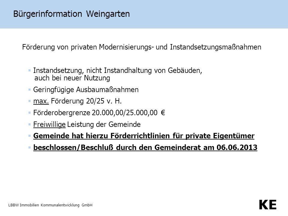 LBBW Immobilien Kommunalentwicklung GmbH Bürgerinformation Weingarten Förderung von privaten Modernisierungs- und Instandsetzungsmaßnahmen Instandsetzung, nicht Instandhaltung von Gebäuden, auch bei neuer Nutzung Geringfügige Ausbaumaßnahmen max.