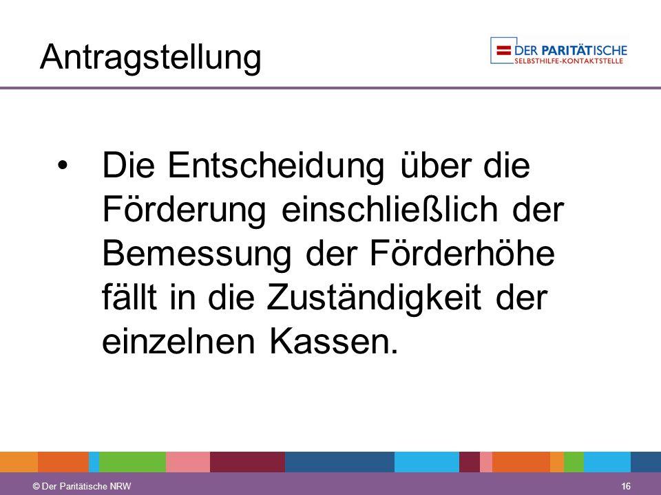 © Der Paritätische NRW 16 © Der Paritätische NRW Antragstellung Die Entscheidung über die Förderung einschließlich der Bemessung der Förderhöhe fällt