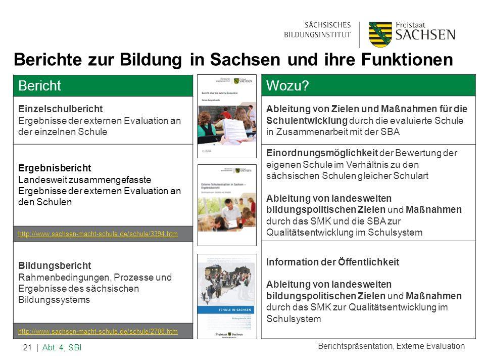 Berichtspräsentation, Externe Evaluation | Abt. 4, SBI21 Berichte zur Bildung in Sachsen und ihre Funktionen Bericht Einzelschulbericht Ergebnisse der
