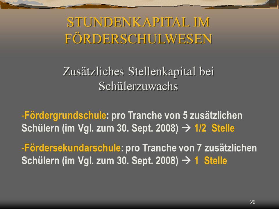 20 - Fördergrundschule: pro Tranche von 5 zusätzlichen Schülern (im Vgl.