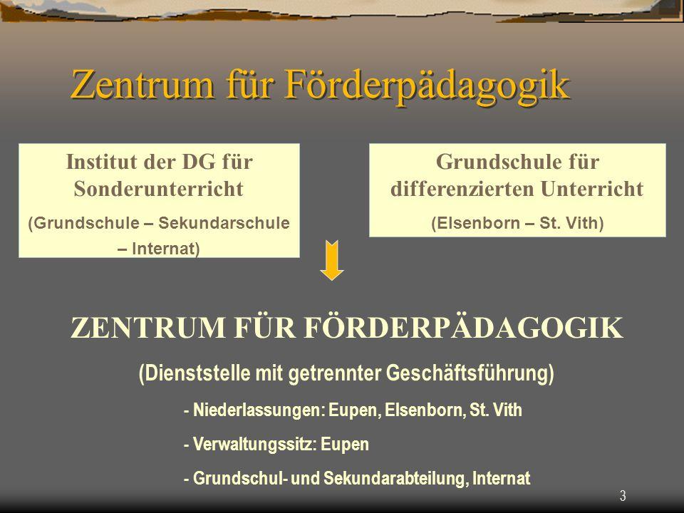 3 Institut der DG für Sonderunterricht (Grundschule – Sekundarschule – Internat) Grundschule für differenzierten Unterricht (Elsenborn – St.