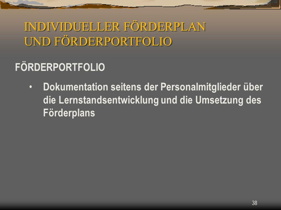 38 FÖRDERPORTFOLIO Dokumentation seitens der Personalmitglieder über die Lernstandsentwicklung und die Umsetzung des Förderplans INDIVIDUELLER FÖRDERPLAN UND FÖRDERPORTFOLIO