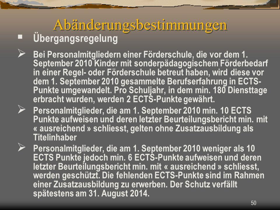 50 Übergangsregelung Bei Personalmitgliedern einer Förderschule, die vor dem 1.